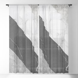 Contemporary Marble Stone Rays Sheer Curtain
