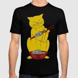 Cat eats mouse noodles  T-shirt
