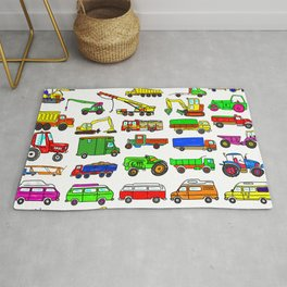 Doodle Trucks Vans and Vehicles Rug