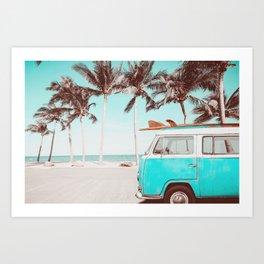 Retro Camper Van With Surf Board Art Print