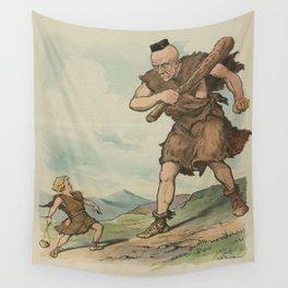 Vintage David Versus Goliath Illustration (1905) Wall Tapestry