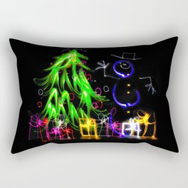 Happy Holidays a light painting Christmas tree and snowman Rectangular Pillow