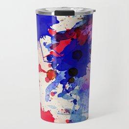 Blue & Red Color Splash Travel Mug