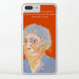 Ursula K. Le Guin portrait + quote Clear iPhone Case