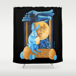 Celtic Lunar Rabbits and Hares - Easter, Ostara Shower Curtain