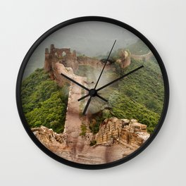 Great Wall Hiking. Double exposure portrait Wall Clock