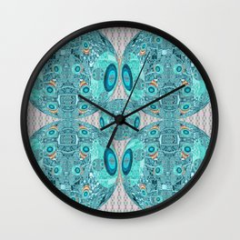 Abstract Sphere Pattern Aquamarine & Grey Wall Clock