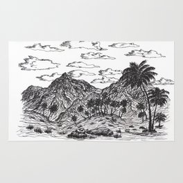 Palm forest in desert Rug