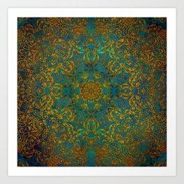 mandala green magic #mandala #green Art Print