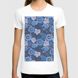 blue anemones and roses T-shirt
