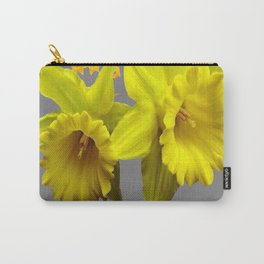 YELLOW DAFFODILS CHARCOAL GREY FLORAL Carry-All Pouch