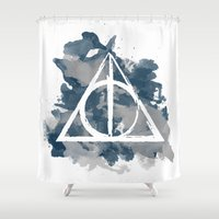 ravenclaw Shower Curtains featuring The Deathly Hallows (Ravenclaw) by FictionTea