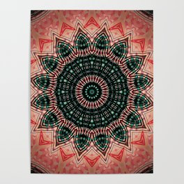 Sepia Tone Boho Mandala Design Poster