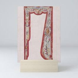Design for a Valance with Thin Garlands and Bundles of Flowers and a Lyre Inside an Ornamental Frame Mini Art Print
