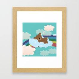 Teddy Bear and clouds Framed Art Print