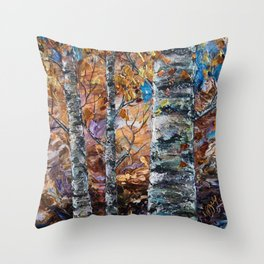 Birch Trees with Palette Knife by OLena Art for @society6 Throw Pillow