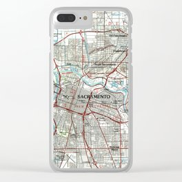 Sacramento California Map (1994) Clear iPhone Case