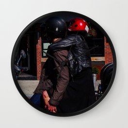 Couple on a Stopped Motorcycle Wall Clock