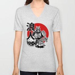 Skeleton Samurai Warrior with Ronin Japanese Lettering Unisex V-Neck