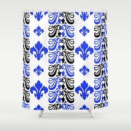Fluer de Lis Custom Blue Shower Curtain