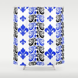 Fluer de Lis Custom Blue Shower Curtain