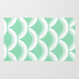 Japanese Fan Pattern Mint Green Rug