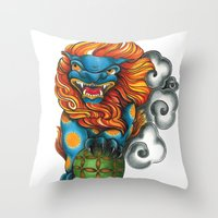 foo fighters Throw Pillows featuring Foo Dog by missfortunetattoo