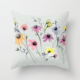 Grey floral garden Throw Pillow