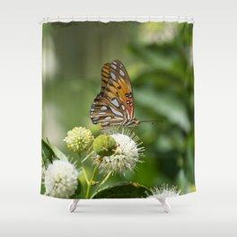 Profile of beautiful orange Gulf Fritillary Butterfly Shower Curtain