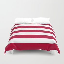 Alabama crimson - solid color - white stripes pattern Duvet Cover