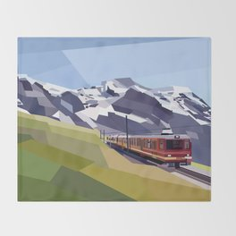 Geometric Jungfraujoch railway, Bernese Alps, Switzerland Throw Blanket