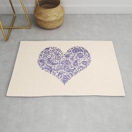 Purple Brocade Paisley Heart Rug