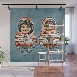 Sailor and his lady (russian dolls) Wall Mural
