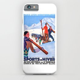 1930 Winter Sports In The French Alps Poster iPhone Case