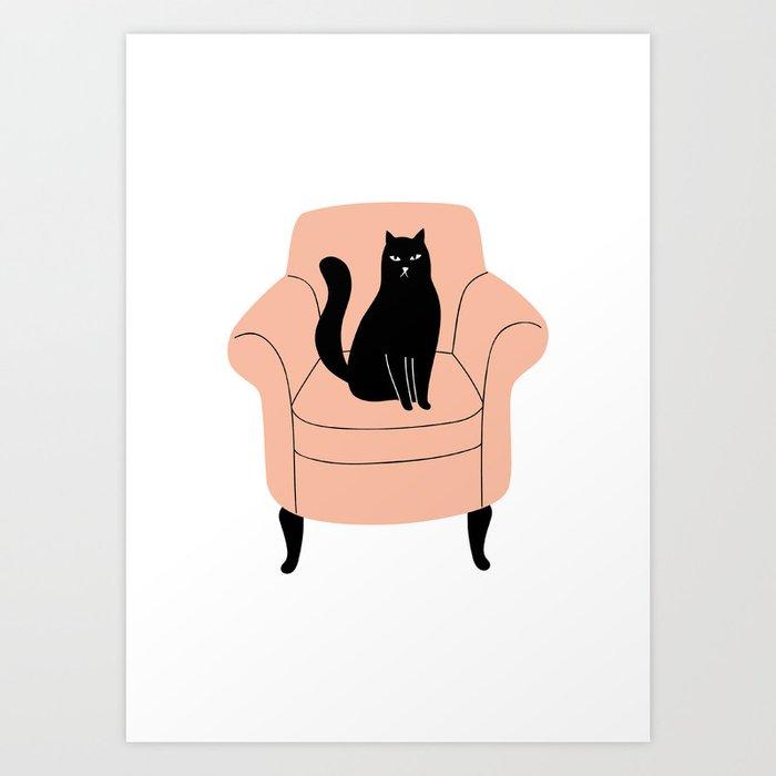 Black Cat On A Chair Art Print by Society6