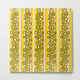 flower power retro wallpaper vibes by surfy birdy Metal Print