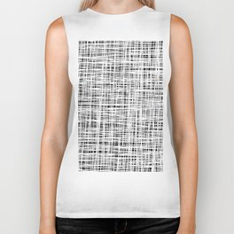 Hand drawn Lines Pattern-White on Black - Mix & Match with Simplicity of life Biker Tank
