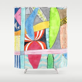 Wonderful Mixture of Geometric and Organic Shapes Shower Curtain