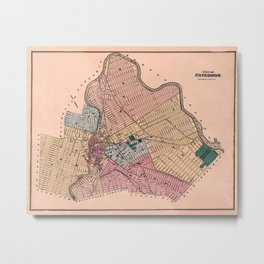 Map Of Paterson 1872 Metal Print