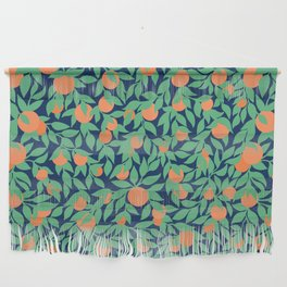 Oranges and Leaves Pattern - Navy Blue Wall Hanging