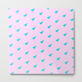 Aqua Triangles on Light Pink Background Pattern Metal Print