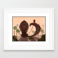red riding hood Framed Art Prints featuring Red Riding Hood riding 2 by Gromy
