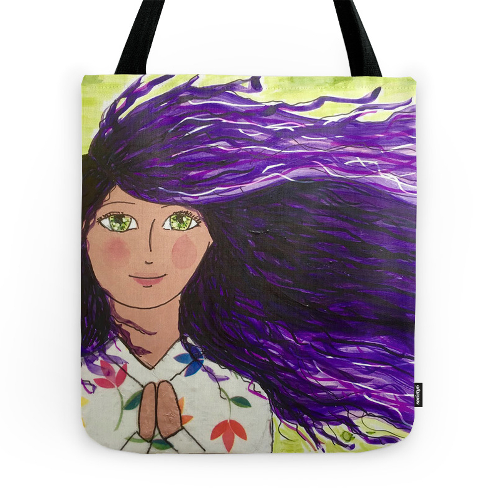 Purple Haired Prayer Girl. Tote Purse by maritzaparra (TBG7369170) photo