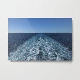 SEA BLUE WAKE AND HORIZON - Pacific Ocean Metal Print