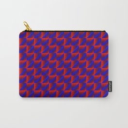 Chaotic pattern of blue rhombuses and red pyramids in a zigzag. Carry-All Pouch