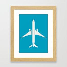 777 Passenger Jet Airliner - Cyan Framed Art Print