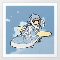 sneaker Art Prints featuring Sneaker ridin' by catamariii