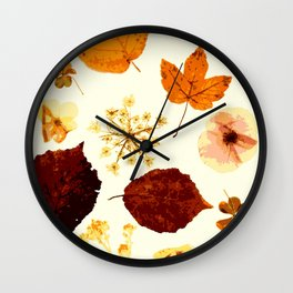 Pressed flowers and leaves Wall Clock