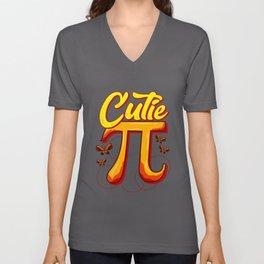 Cute & Funny Cutie Pi Math Pie Butterfly Math Pun Unisex V-Neck