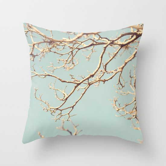 Pale Blue Winter (Tree branches on a retro pale blue sky) Throw Pillow